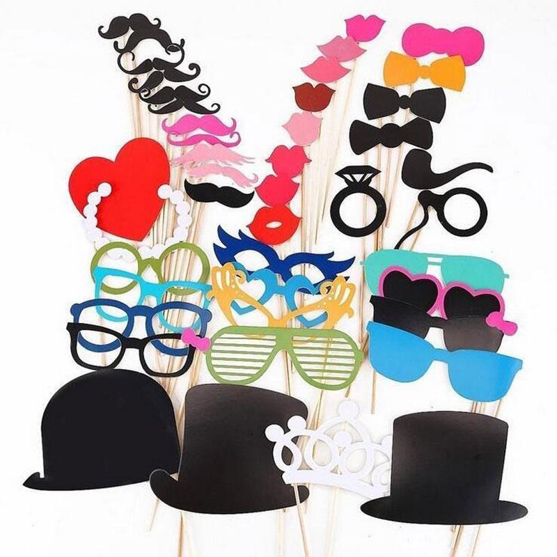 Foto Booth rekvizity 44 ks / Set Foto stánku pro svatební narozeninové párty Svatební foto booth Prop brýle Knír Lip na tyčce