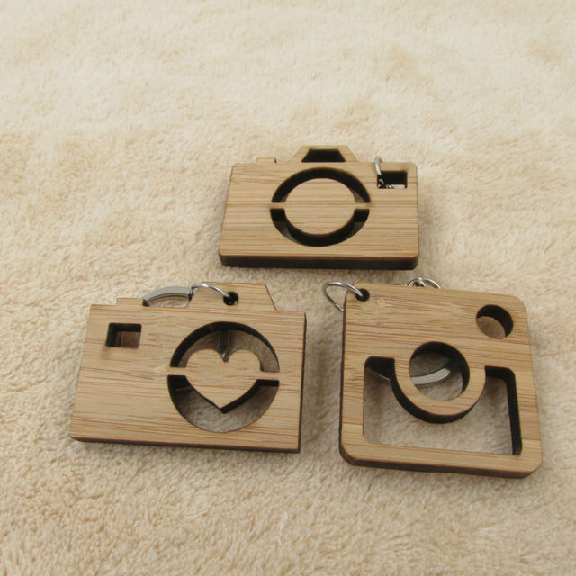Camera Keychain Wooden Gift For Friend Dad Sister Wood Key Chain Gifts Photographer Ring