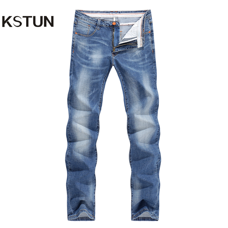 Jeans Men Light Blue Stretch Slim Straight Regular Fit Casual Jeans Male Denim Pants Male Long Trousers Top Quality Plus Size 40 9