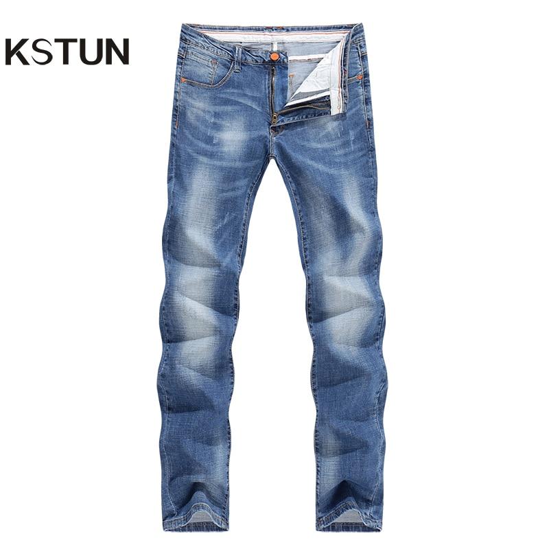 KSTUN   Jeans   Men 2019 Summer Thin Strech Business Casual Straight Slim Fit   Jeans   Light Blue Denim Pants Trousers Classic Cowboys