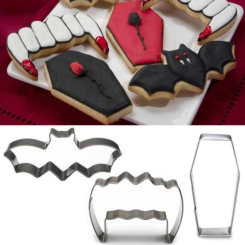 1pcs patisserie reposteria Halloween Coffin Ghost Teeth Bat Metal Cookie Cutter Fondant Cake Decor Tools Biscuit Pastry Mould