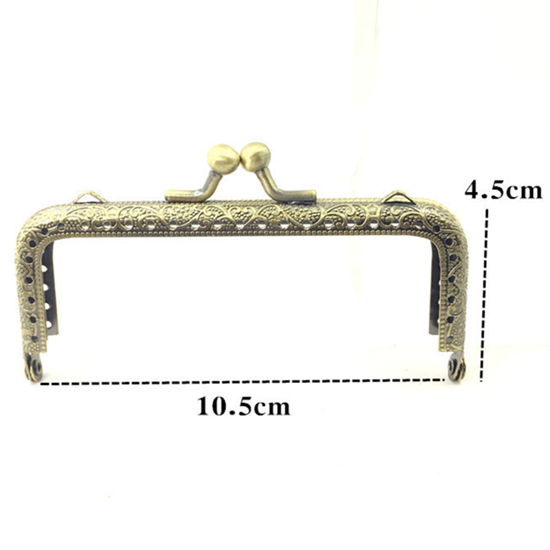 10Pcs Bronze Tone Flowers Convex Rectangle Metal Frame Kiss Clasp Lock Clutch Coins Purse Handbag Handle Part
