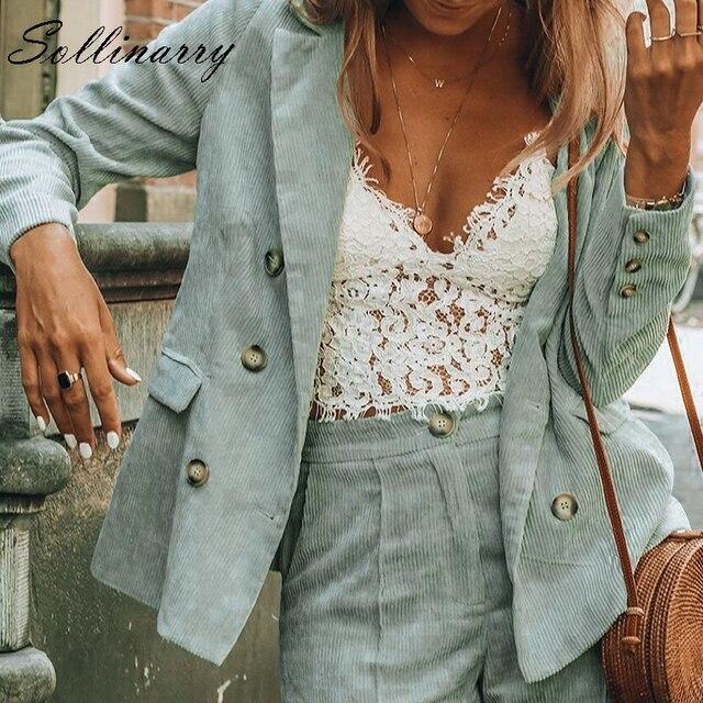 Sollinarry Corduroy  Blazer 2018 Autumn Winter Coat Business Casual Women Coat Vintage Double Breasted Blazer feminino