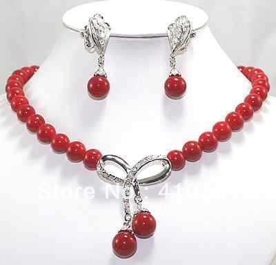 $ Wholesale_jewelry_wig $ Liberano Bella Corallo Rosso Pendente Della Collana, Orecchini Set In Vendita