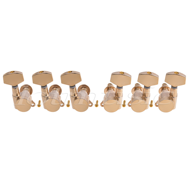 Electric Acoustic Guitar String Tuning Pegs Keys Tuners Machine Heads 3x3 Gold 3r3l golden locked string guitar tuning pegs machine heads tuners for acoustic electric guitar