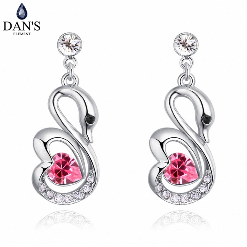 DANS 5 Colors Real Austrian crystals Stud earrings for women Earrings s New Sale Hot Round 129654