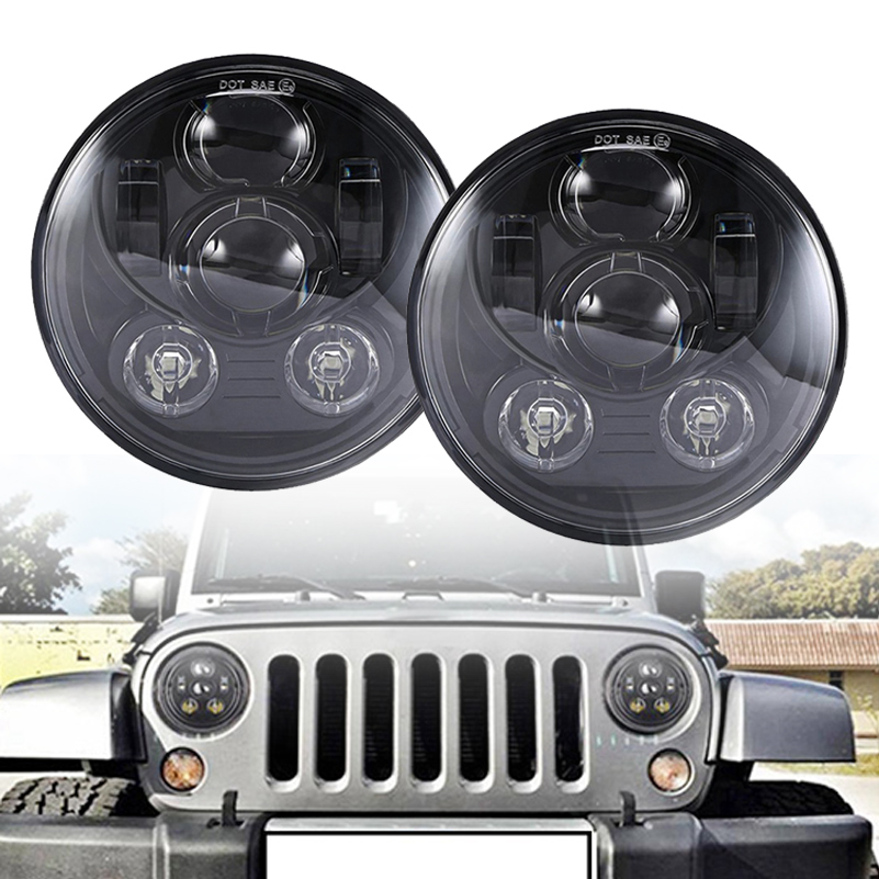 7'' Round led headlight For Jeep Wrangler JK accessories H4 7inch 45W LED Projector headlights for Land Rover Defender TJ LJ. round 7 inch led headlight 7 projector daymaker headlamp high low beam for jeep wrangler jk lj tj land rover defender 90 110