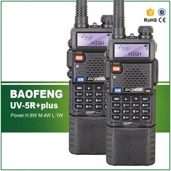 2PCS Original Tri-Power 8W/4W/1W Long Battery 3800MAH Baofeng UV-5R plus Dual Display VHF UHF FM Transceiver Free Earphone