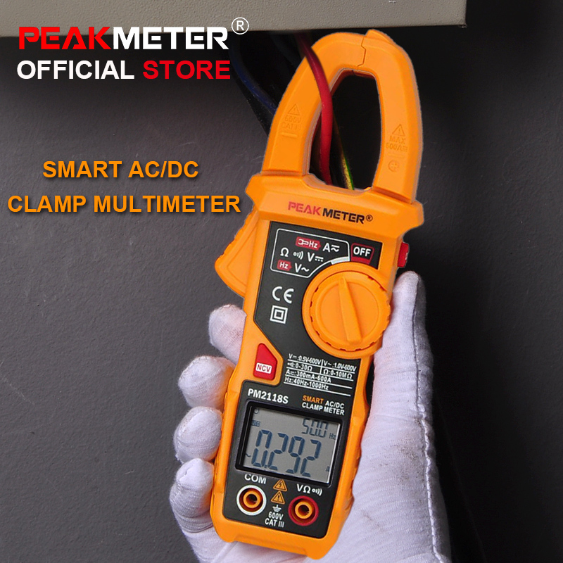 NEW PEAKMETER Portable Smart AC/DC Clamp Meter Multimeter AC Current Voltage Resistance Continuity Measurement Tester with NCV nc dc dc dc adjustable voltage regulator module integrated voltage meter 8a voltage stabilized power supply