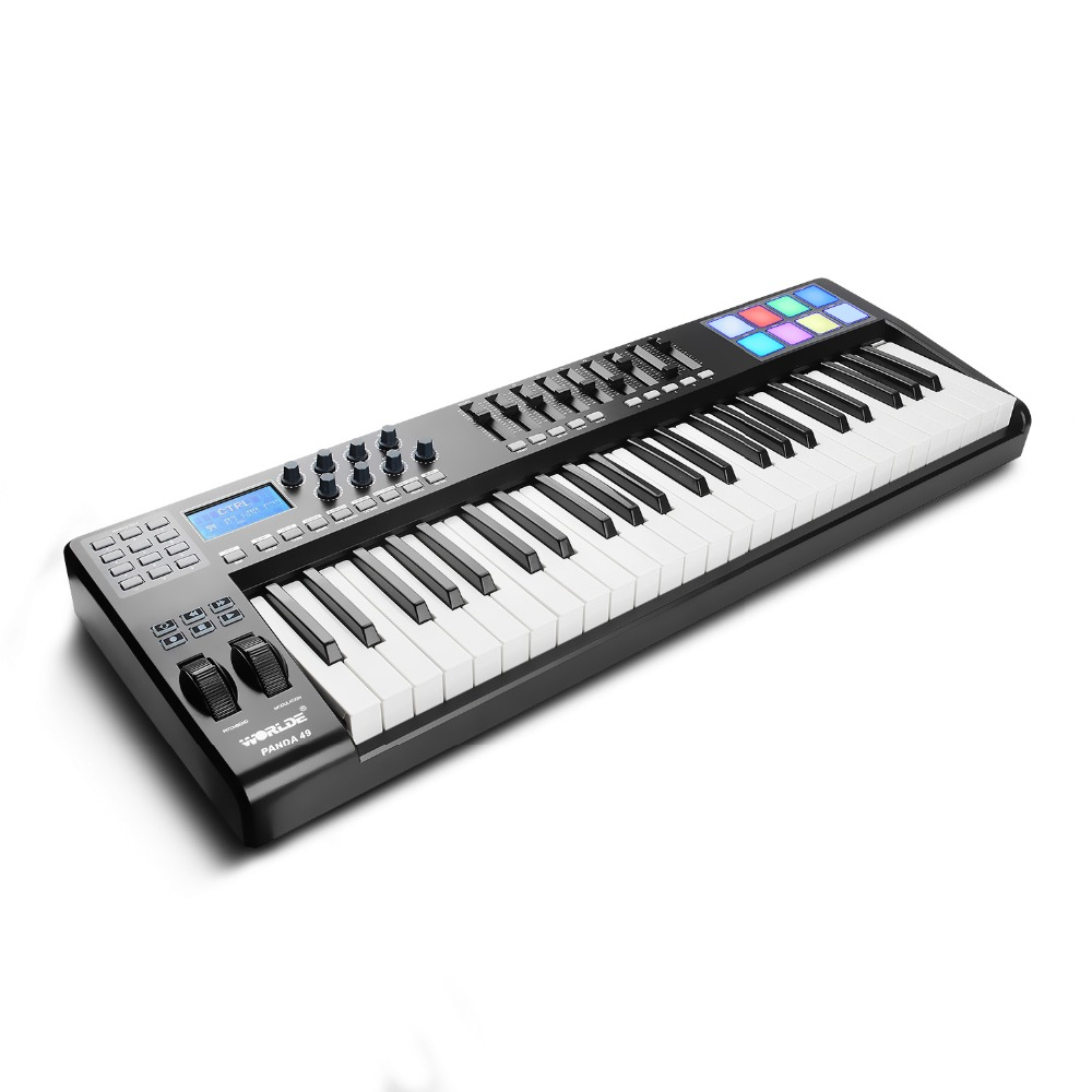 Worlde Panda Portable MIDI Keyboard Controller 49 Key MIDI Controller, 8 RGB Backlit Light Drum Pad, 9 Faders, 8 Knobs вытяжка hotpoint ariston hhbs 9 8f lt x