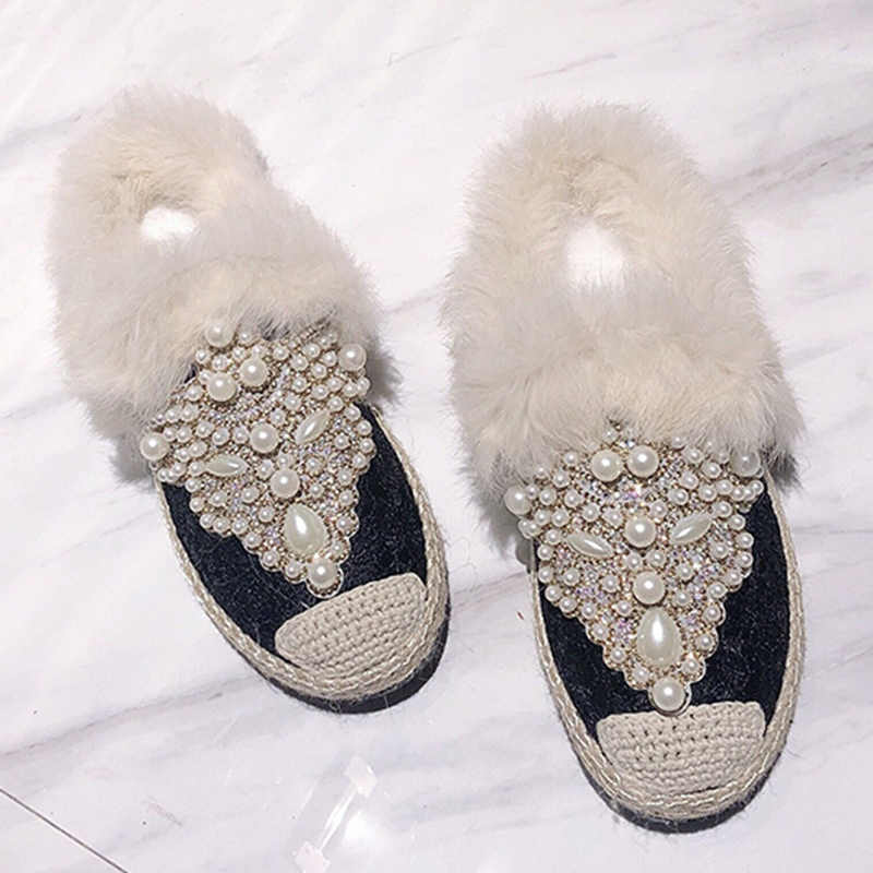 dd31a813e Brand 2019 New Spring Luxury Slippers Pearl Fur Mules Shoes Woman High  Quality Fashion Winter Flats