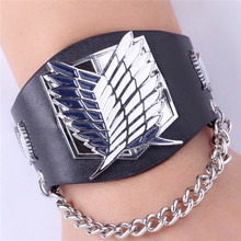 Leather Punk Bracelet Attack On Titan Black Butler Fantasy Exo One Piece Luffy Naruto Charm Bracelet jewelry