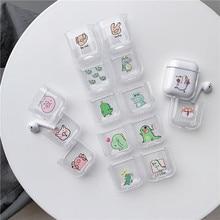For airpods case Cartoon Dinosaur Bluetooth Wireless Headphone Case 1/2 Hard Shell Transparent Cute Charging