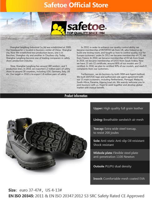 3316e9cbd6 Safetoe Couro Nobuck Biqueira de Aço Calçados de Segurança Botas De ...