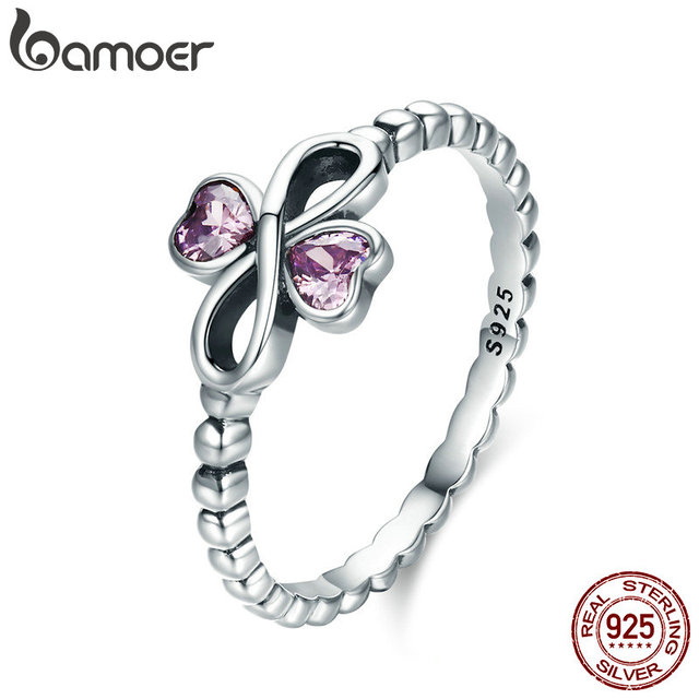 77d88fbf3a4c0 BAMOER Romantic 100% 925 Sterling Silver Infinity with Heart Luminous Pink  CZ Finger Ring Women Sterling Silver Jewelry SCR357-in Rings from Jewelry &  ...