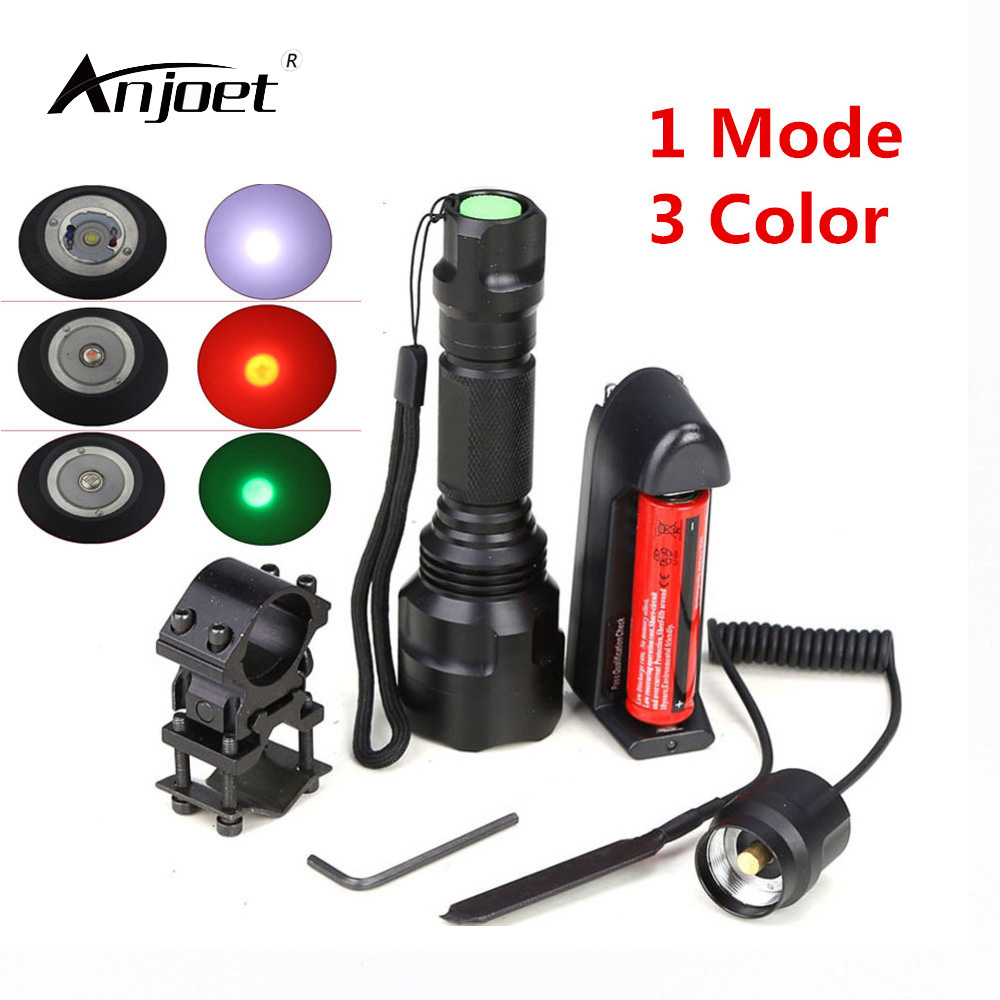 ANJOET Single file Mode Tactical Flashlight T6/Q5 led torch + battery + Charger + Pressure Switch Mount Hunting Rifle Gun Lamp anjoet led hunting flashlight 6000 lumens 3 x xml t6 5mode 3t6 torch light suit gun mount remote pressure switch charger