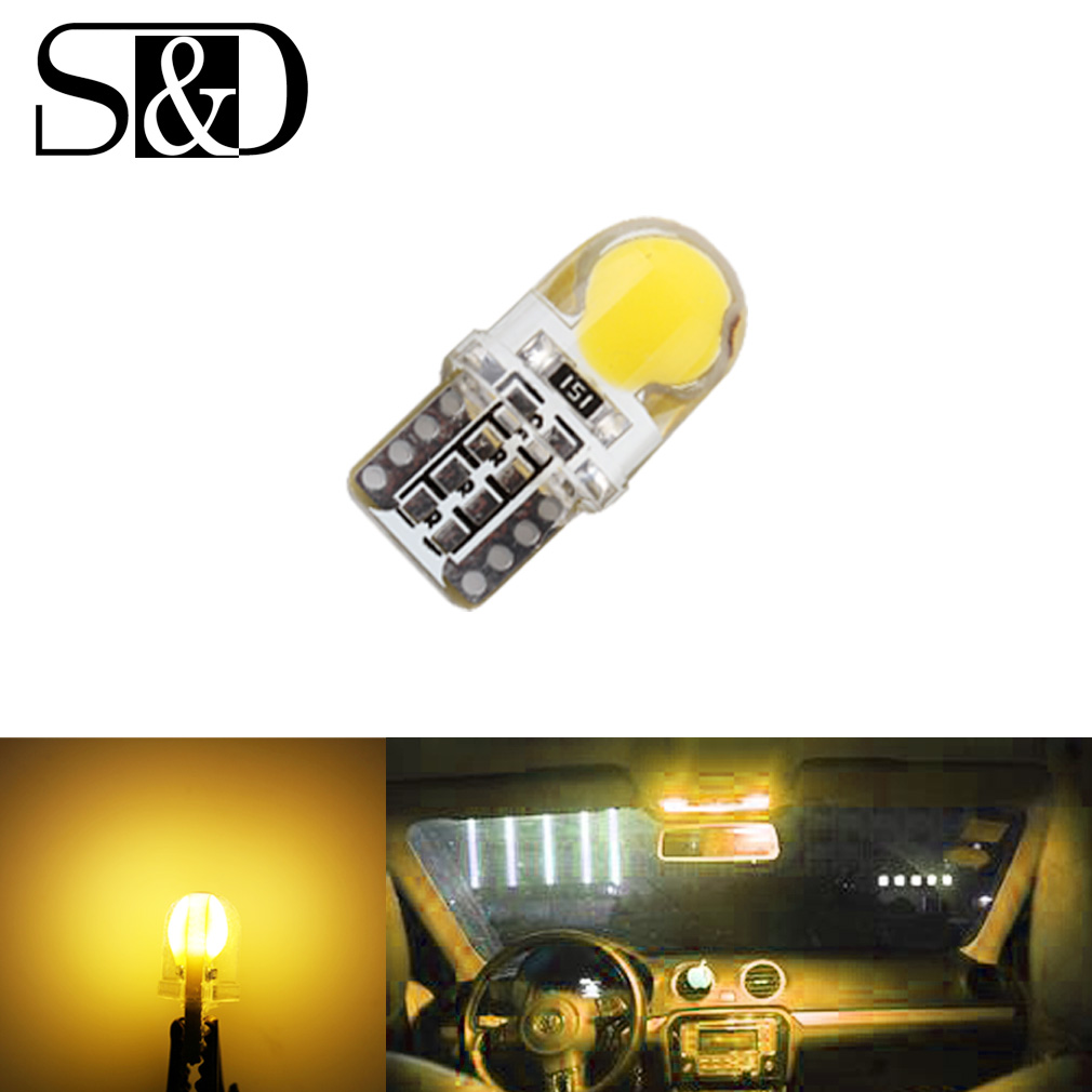 Auto T10 Yellow Amber 194 W5W 168 COB 8-SMD Silica Car LED Super Bright Turn Side License Plate Light Lamp Bulb DC12V D050 hot sale 2pcs t10 194 168 w5w cob 8 smd 4w 80lumen silica super bright led turn side license plate light lamp bulb dc12v