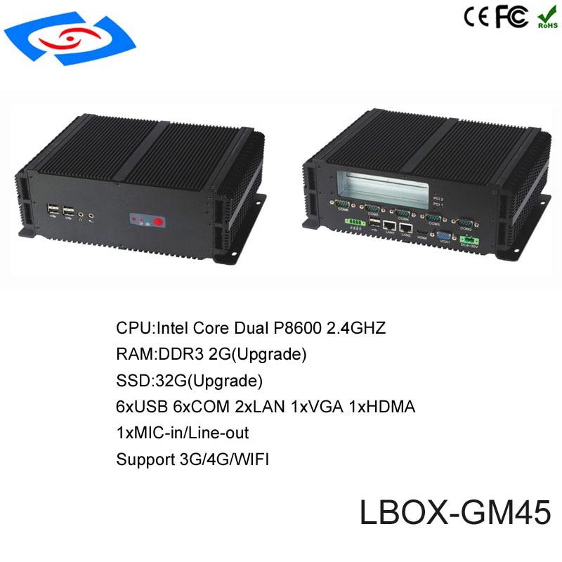 Offre spéciale Mini PC sans ventilateur Windows 10 4 GB RAM Intel Pentium P8600 double coeur 2 LAN 6 RS232 HTPC PC industriel Nettop HDMI VGA WiFi