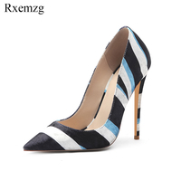 Rxemzg sexy shoes woman mixed color stripe velvet women's high heel shoes pointed toe fashion women party pumps 45 34 size shoes