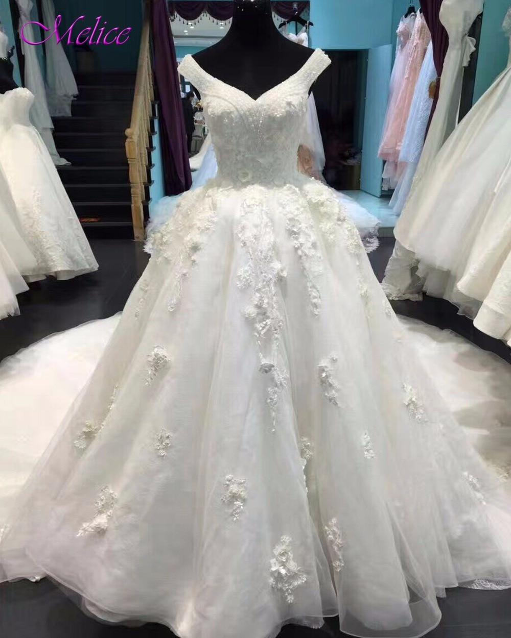 Melice Luxury Beaded Sweetheart Neck Lace Up Ball Gown Wedding Dresses 2020 Appliques Chapel Train Bridal Dress Vestido de Noiva