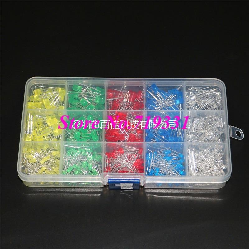 500 pcs 3mm 5mm LED Light package 5 Color f5 5mm led blue light emitters set white 5 pcs