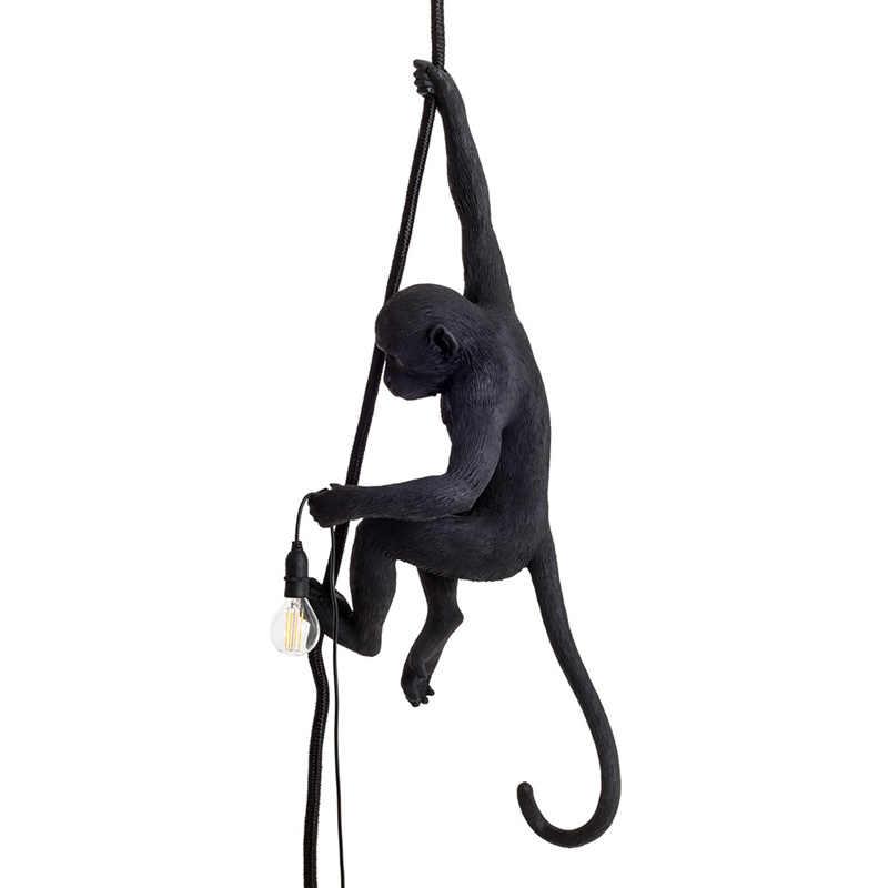 Современная черная обезьянка из смолы, лампа, индивидуальный стиль, пеньковая веревка, черная обезьянка, лампа, люстры висячие светильники, подвесной потолок