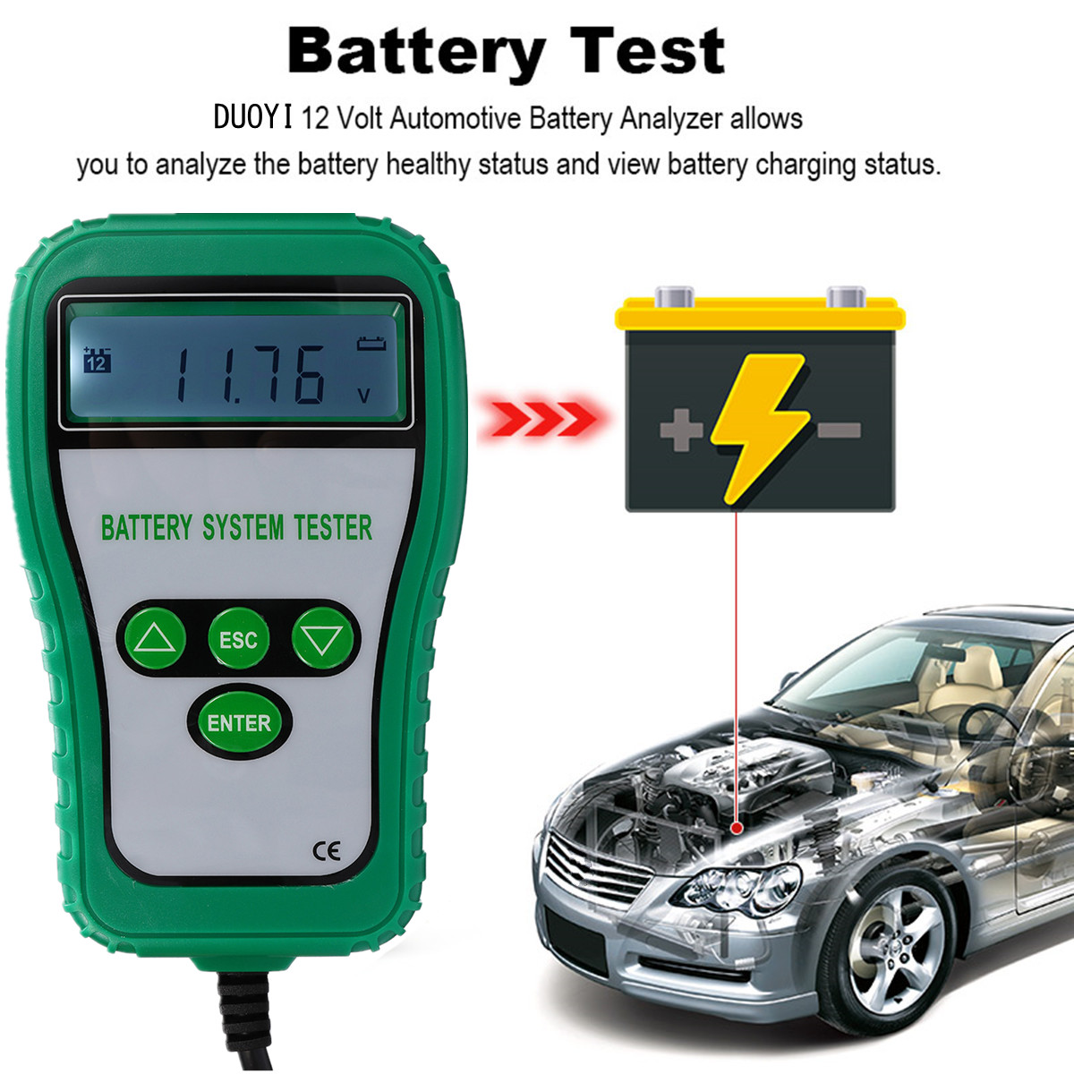 12V LCD Digital Battery Tester Analyzer Alternator Battery System Tester Cranking Amps Battery Resistance Voltage Life Analysis motopower grey 12v smart digital battery tester voltmeter alternator analyzer with lcd and led display for car motorcycle boat