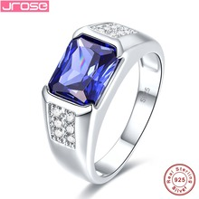 Купить с кэшбэком Jrose Unisex 5.15ct Tanzanite Solid 925 Sterling Silver Ring Elegant Xmas Gift Jewellery for Women Size 6 7 8 9 Free with Box