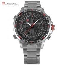 Winghead SHARK Спортивные Часы 2-е Издание мужская Черный Dual Time Дата Сигнализация Стали Группа Relogio ЖК-Подсветки Цифровые Часы/SH325N