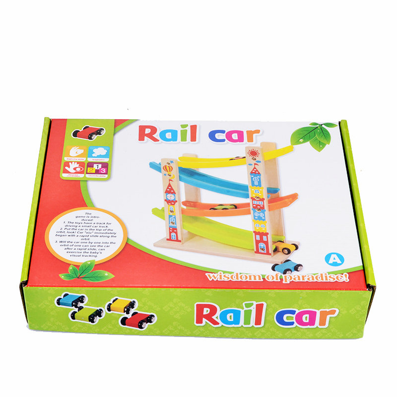 Free shipping wooden children's toys roller coaster four layer gliders, Rail car/inertia vehicle early education intelligent toy
