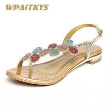 Купить с кэшбэком 2018 Women's Sandals Purple Gold Two Colors Available Sweet Leather Rhinestone Metal Buckles Low-heeled Diamond Shoes Women