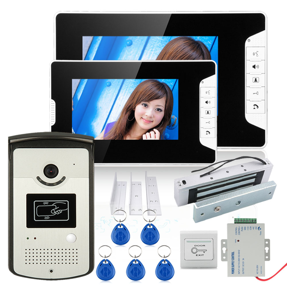 7 Color Video Door Phone Intercom System With 2 Monitor 1 RFID HD Doorbell 1000TVL Camera +Electric Magnetic Door Lock 180KG x6 rfid door entry system 180kg magnetic lock and u bracket for glass door