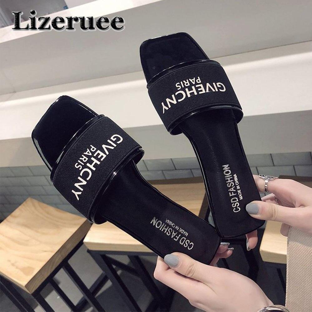 2018 מותג נעלי נשים סנדלים שטוחים מכתבי אופנה קיץ שקופיות חוף Flip כפכפי נשים נעלי בית נעלי בית KS222