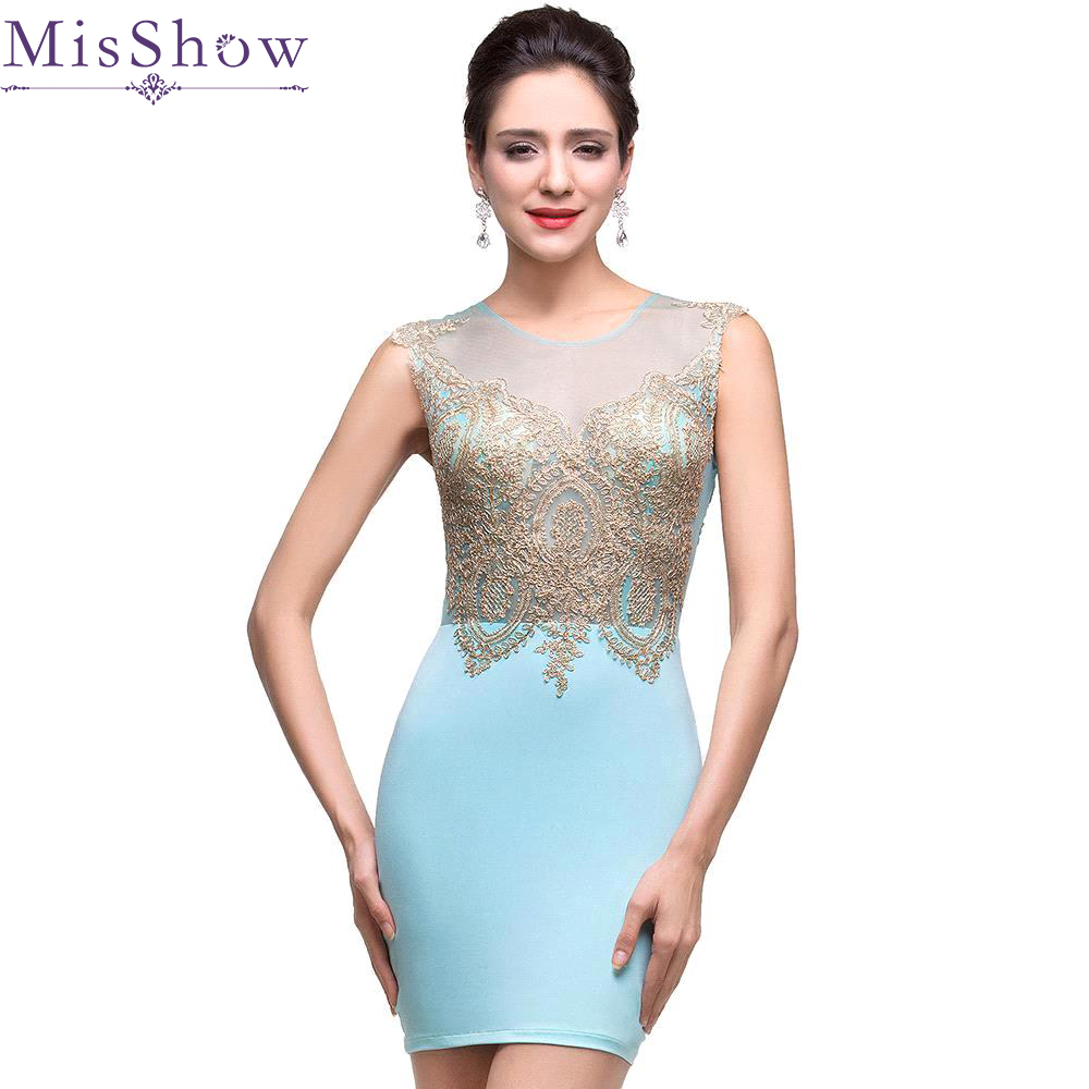Robe De   Cocktail   Gold Appliques Short   Cocktail   Dresse Party Gown Light Blue Short Prom   Dresses