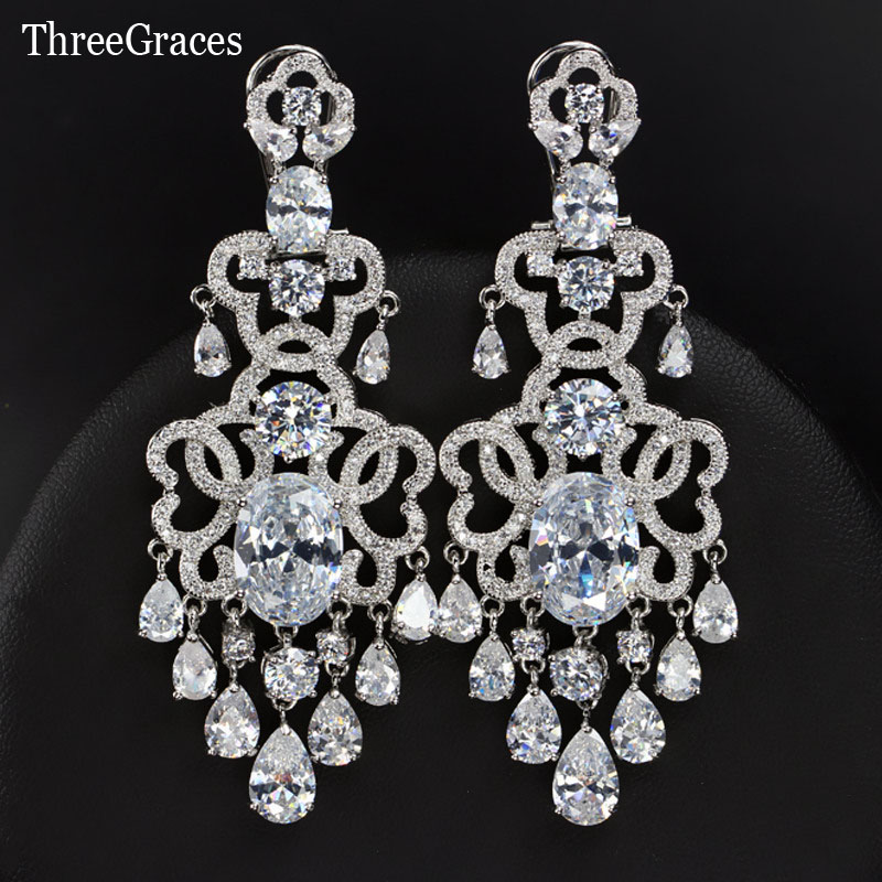 Threegraces Famous Brand Vintage Royal Blue Bridal Jewelry Luxury Cubic Zirconia 7 Cm Long Chandelier Earrings For Wedding Er310 In Drop From