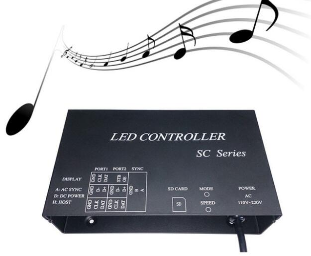 H803SC SD card LED music pixel controller support DMX512 WS2812 etc microphone audio cable input