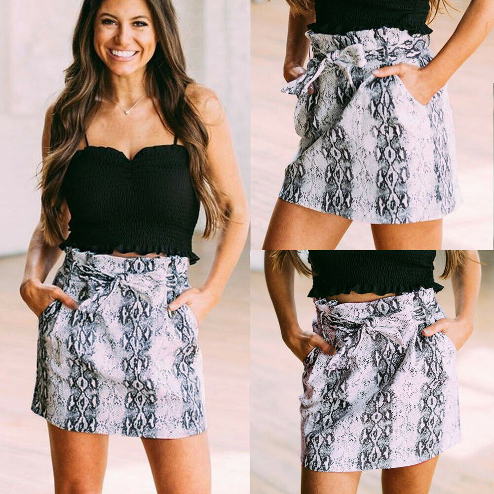 New Women High Waist Bodycon Mini Skirt Summer Fashion Leopard Elasticated Pencil Skirts