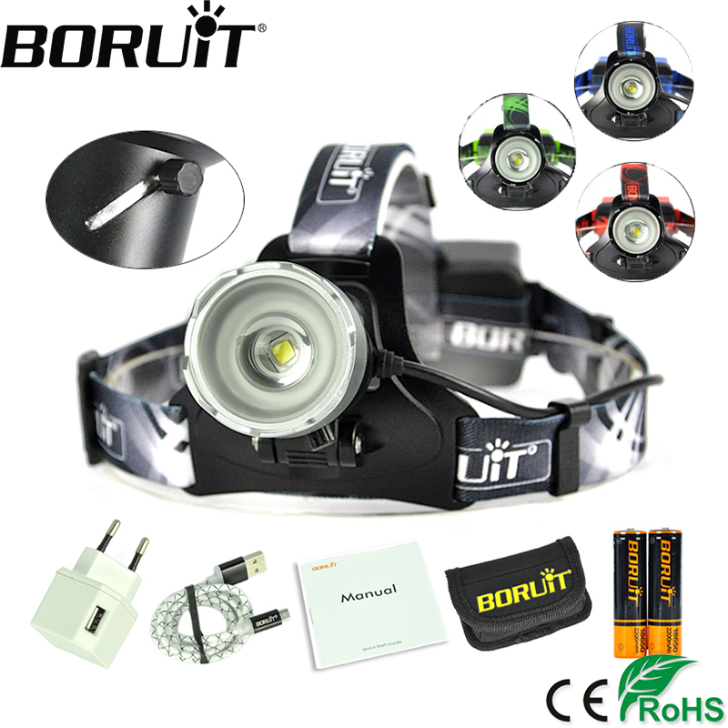 Boruit 2000LM XM-L2 LED Headlight 3-Mode Zoom Headlamp USB Rechargeable Power Bank Head Torch Fishing Hunting Frontal Lamp 18650 3x xm l l2 8000 lm rechargeable headlamp outdoor headlight linterna frontal for hunting 18650 battery charger usb cable