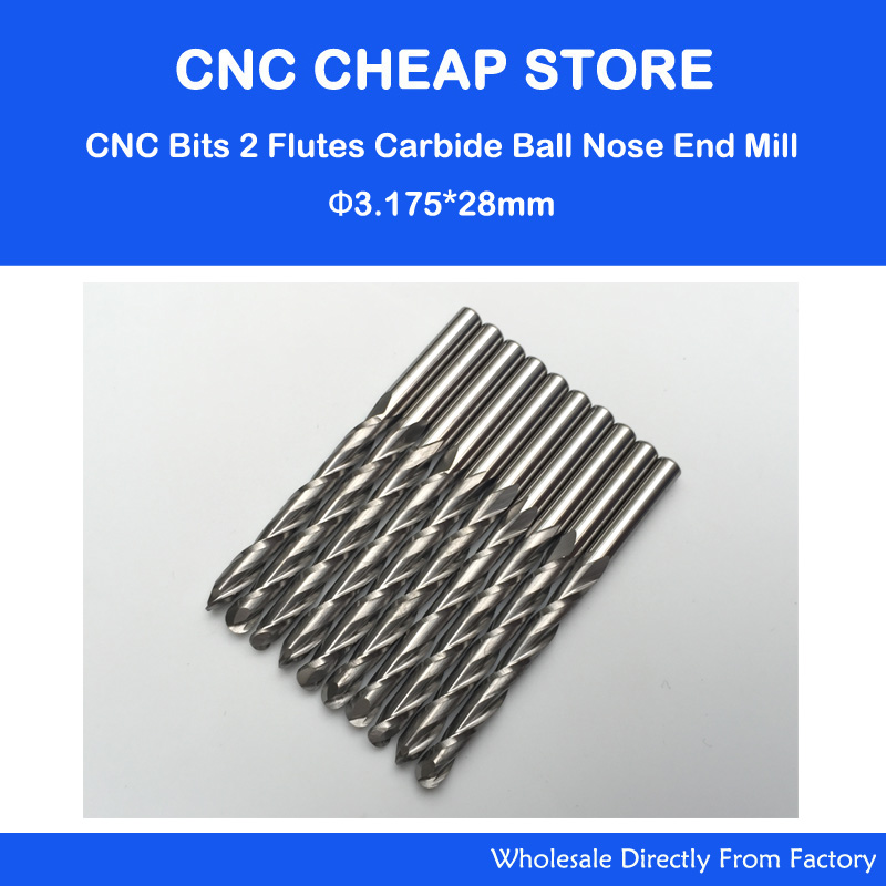 10pcs 1/8 Double / Two Flute Carbide CNC Router Bits Ball Nose Nosed End Mills 3.175*28mm Tools free shipping 5pcs lot new 4mm hq carbide cnc router bits double flute aluminum cutting tools 3mm 8mm