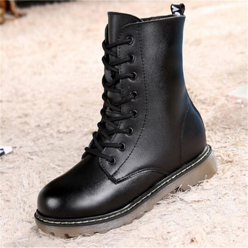 New Children Martin boots Autumn Winter High Boots Boys Girls Mid-Calf Lace-Up Genuine Leather Boots Kids Baby Student Shoes 02A autumn winter girls princess long boots children motorcycle boots lace up genuine leather mid calf snow boots 03b