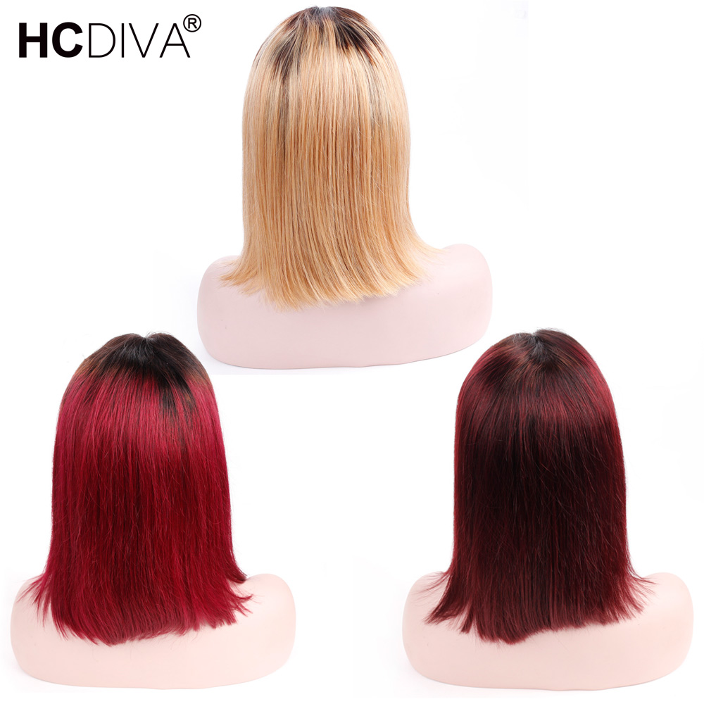 Ombre Кружева Фронтальная человеческих волос Парики Короткий Боб парик прямо бразильский Волосы remy средняя часть T1B27/розовый/T1B/ бордовый/T1B99J
