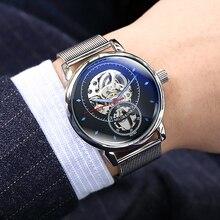 גבר שעונים אוטומטי שעונים מכאניים גברים יוקרה מותג אופנה חלול חיוג שעון מקרית כסף נירוסטה Whatch שעון