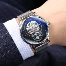 男腕時計自動機械式時計の男性高級ブランドファッション中空カジュアルシルバーステンレス鋼 Whatch 時計