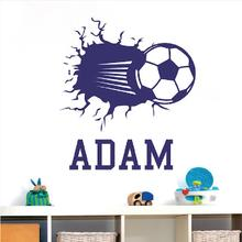 Custom Soccer Name Kids Room Art Bedroom Wall Sticker 3d Football DIY Home DEcal Vinyl Personalized Decal Q-21