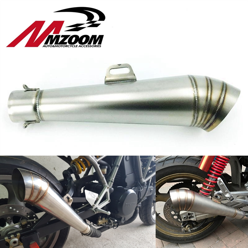Mzoom-48.8MM moto Modificate tubo di scarico in acciaio inox fritto tubo gp tubo di scarico senza adesivo