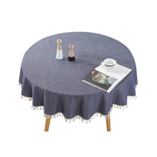 150*150cm Round Table Cloth Cotton Tablecloth With Tassel Table Cover Tea Tablecloth Hotel Dining Table Cover Solid Color dining table with adjustable top wood color dropshipping