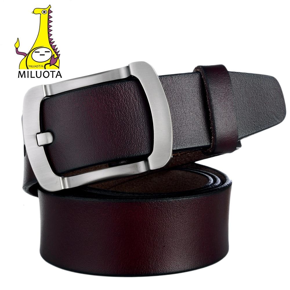 bb8ab9b1e9e3  MILUOTA  Mode 100% véritable ceintures En Cuir pour hommes de haute  qualité boucle En Métal de peau de vache ceinture De Luxe ceinture Hommes  bt1330