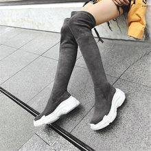 NAYIDUYUN  2019 Women Faux Suede Stretch Over The Knee Long Boots Wedge Platform Thigh High Round Toe Punk Sneaker Shoes