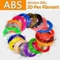 Fio plástico plástico do abs da impressora do filamento 3d do abs da impressão do pla 3d do filamento do abs do filamento da pena das cores 3d nenhuma poluição abs 1.75mm 20