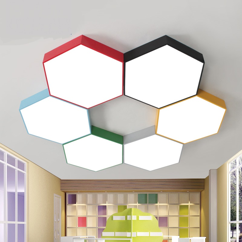 где купить Geometric led ceiling lamps Multi-color honeycomb Living Room Restaurant Cafe kindergarten clothing store ceiling lights ZA по лучшей цене
